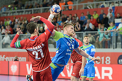 Blaz Blagotinsek of Slovenia during handball match between National teams of Slovenia and Czech Republic on Day 7 in Main Round of Men's EHF EURO 2018, on January 24, 2018 in Arena Varazdin, Varazdin, Croatia. Photo by Mario Horvat / Sportida