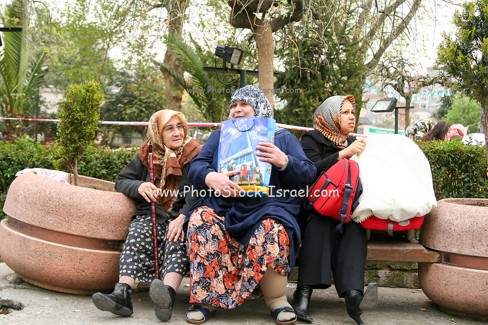 Turkish women in a park in Istanbul, Turkey