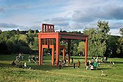 The Writer: 10m sculpture at  Parliament Hill Fields,  Hampstead Heath, London, by Italian artist Giancarlo Neri, as part of ROLLO Contemporary Art. It's a ?a monument to the loneliness of writing?.....He used to play soccer for New York Apollos