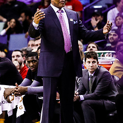 Feb 8, 2017; New Orleans, LA, USA; New Orleans Pelicans head coach Alvin Gentry reacts to an officials call during the second quarter of a game against the Utah Jazz at the Smoothie King Center. Mandatory Credit: Derick E. Hingle-USA TODAY Sports