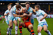 Castleford Tigers centre Jake Webster (3) is forced into touch during the Betfred Super League match between Castleford Tigers and Widnes Vikings at the Jungle, Castleford, United Kingdom on 11 February 2018. Picture by Simon Davies.