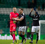 4th April 2018, Celtic Park, Glasgow, Scotland; Scottish Premier League football, Celtic versus Dundee; Dundee goalkeeper Elliott Parish, Josh Meekings and Glen Kamara at the end