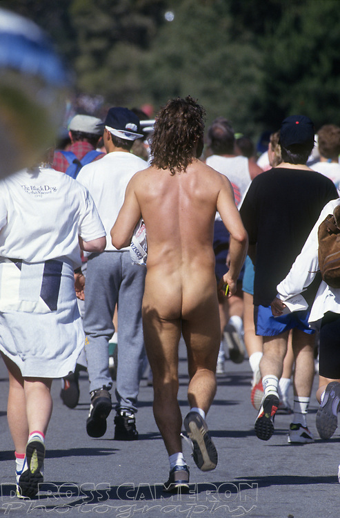 An unidentified naked man runs through Golden Gate Park at the 82nd running of the Bay to Breakers 12K race, Sunday, May 16, 1993 in San Francisco. (Photo by D. Ross Cameron)