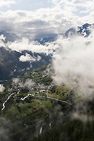 IFTE-NB-007640; Niall Benvie; panorama element; View into the valley around Fliess from Kaunergrat visitor's centre; Austria; Europe; Tirol; vertical; grey blue; forest woodland; 2008; July; summer; fog mist rain cloud; Wild Wonders of Europe Naturpark Kaunergrat