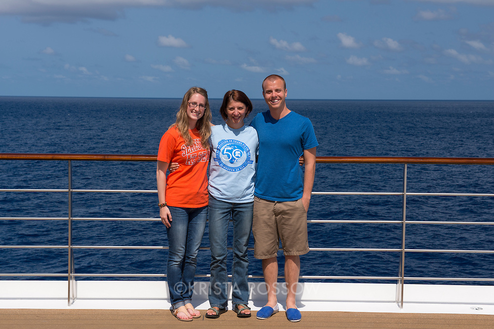 Field office team: Whitney Longnecker, Julie Murray-Jensen, Andrew Allison. Group photos from the Spring 2014 50th Anniversary voyage of Semester at Sea.
