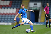 Callum Camps shoots during the EFL Sky Bet League 1 match between Rochdale and Rotherham United at Spotland, Rochdale, England on 7 October 2017. Photo by Daniel Youngs.