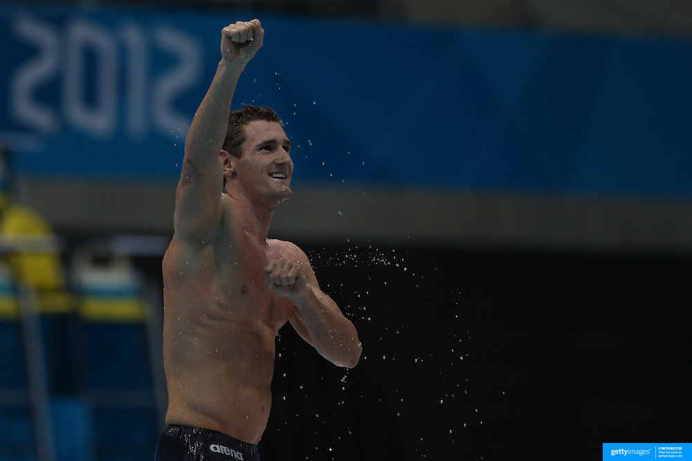 Cameron van der Burgh, South Africa, winning the Men's 100m Breastroke final in world record time at the Aquatic Centre at Olympic Park, Stratford during the London 2012 Olympic games. London, UK. 29th July 2012. Photo Tim Clayton