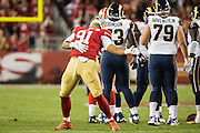 San Francisco 49ers defensive end Arik Armstead (91) celebrates a sack against the Los Angeles Rams at Levi's Stadium in Santa Clara, Calif., on September 12, 2016. (Stan Olszewski/Special to S.F. Examiner)