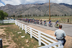 The peloton completes the first of short loops on Stage 2 of the Amgen Tour of California - a 108 km road race, starting and finishing in South Lake Tahoe on May 18, 2018, in California, United States. (Photo by Balint Hamvas/Velofocus.com)