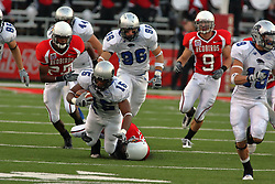 20 September 2008: Jason Tate gets the left ankle of Quinten Ponius to abort his run during Illinois State Redbirds home opener lose to the #20 ranked Eastern Illinois Panthers at Hancock Stadium on the campus of Illinois State University in Normal Illinois. Final score was 25-21.