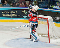 KELOWNA, CANADA, DECEMBER 2: Jordon Cooke #30 of the Kelowna Rockets takes time out as the Victoria Royals visit the Kelowna Rockets  on December 2, 2011 at Prospera Place in Kelowna, British Columbia, Canada (Photo by Marissa Baecker/Shoot the Breeze) *** Local Caption ***