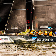 To mark its tenth year in 2016 the Extreme Sailing Series™ introduced a new weapon of choice, the hydro-foiling GC32 catamaran. Smaller, faster than the Extreme 40, and considerably more challenging for the crew, this cutting edge design gave the Series' signature Stadium Racing format a complete revamp.<br /> <br /> Designed by foil expert Dr Martin Fischer, the GC32 is part of a revolution that has gripped the sport ever since huge AC72 catamarans flew around San Francisco Bay in 2013.<br /> <br /> The magic of this ultra-light, responsive hydro-foiling catamaran lies in its unique J-foils which work much like an airplane wing to lift the hulls out of the water, reducing drag and rapidly increasing speed. This makes for a magnificent spectacle for the crowds watching on shore and a physical balancing act for the crews who have to work hard trimming the sails to keep their boat in the air.<br /> <br /> The GC32 is capable of reaching speeds of up to 39 knots, in comparison to its predecessor which peaked at 30. If you want an idea of what that feels like, it is like putting your head out of the window in a car when it is raining at 45mph (72kph).