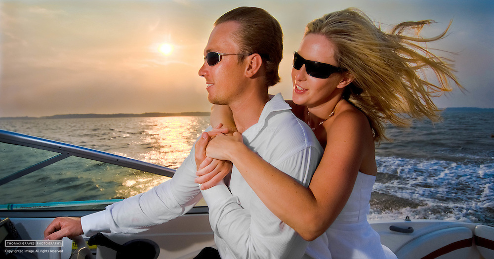 Kirsten Nogay and Henry Johnsen, photographed on their 24-foot bowrider boat in the Chesapeake Bay, and playing with their dog Neela in Pasadena, MD, July 27, 2007.