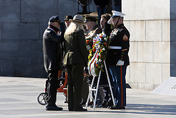 November 11, 2018 - Washington, DC, U.S - Patricia Trapp, acting superintendent of the National Mall and Memorial Parks, participating in the Presentation of the Wreaths at the Freedom Wall at a Veterans Day Observance at the World War II Memorial held on the 100th anniversary of the first World Wars' Armistice with Germany, and the 100th Veterans Day, then known as Armistice Day, which was first observed in 1919. (Credit Image: © Evan Golub/ZUMA Wire)