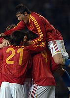 Photo: Paul Greenwood.<br />England v Spain. International Friendly. 07/02/2007. Spains Angel Javier Azimendi, right, joins the Spanish ceelbrations