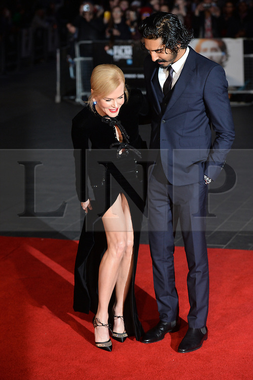 © Licensed to London News Pictures. 12/10/2016. Actress NICOLE KIDMAN and actor SEV PATEL attend the film premiere of LION as part of The London Film FestivalLondon, UK. Photo credit: Ray Tang/LNP