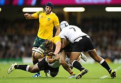 Fiji Flanker Akapusi Qera tackles Australia Flanker Michael Hooper  - Mandatory byline: Joe Meredith/JMP - 07966386802 - 23/09/2015 - Rugby Union, World Cup - Millenium Stadium -Cardiff,Wales - Australia v Fiji - Rugby World Cup 2015 - Pool A