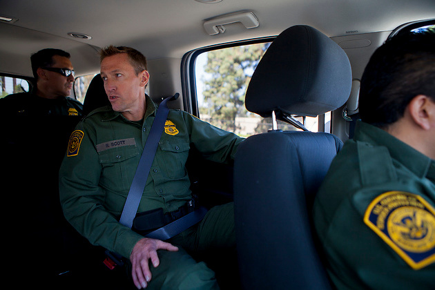 U.S. Customs and Border Patrol Deputy Chief Patrol Agent Rodney Scott talks to a reporter on the way to the U.S.-Mexico border.