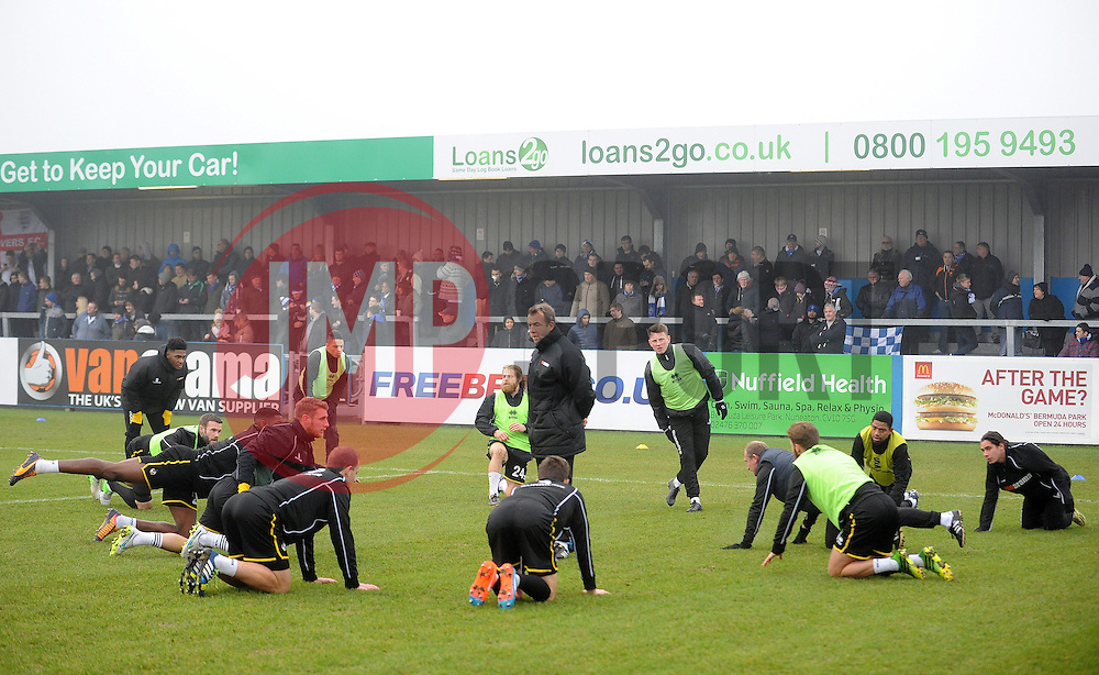 Warm up - Photo mandatory by-line: Neil Brookman/JMP - Mobile: 07966 386802 - 04/01/2015 - SPORT - football - Nuneaton - James Parnell Stadium - Nuneaton Town v Bristol Rovers - Vanarama Conference