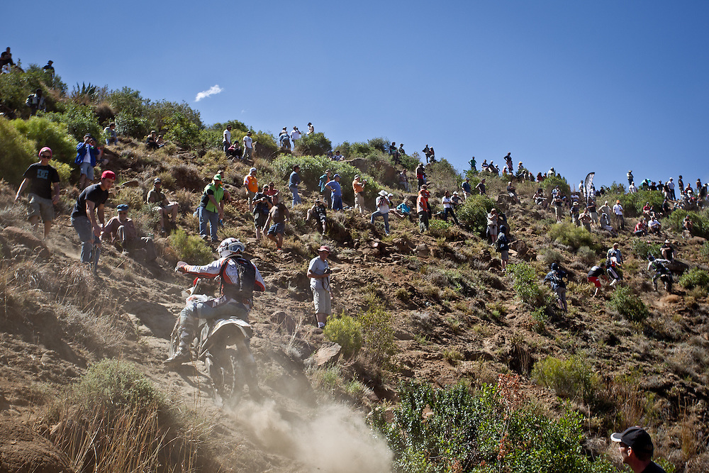 Dricky Morkel makes his way up Free Fall during the 44th running of the Roof of Africa enduro held in Lesotho.