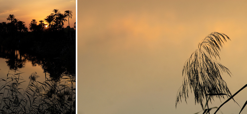 Egypt, Luxor. November/21/2008. ..West Bank sunset...
