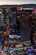 Aerial view of Cosmopolitan Hotel the Strip, Las Vegas, Nevada, USA