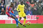 Crystal Palace striker Wilfried Zaha (11) passes the ball during the Premier League match between Crystal Palace and Chelsea at Selhurst Park, London, England on 30 December 2018.