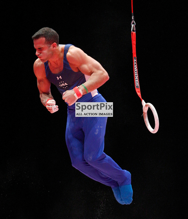 2015 Artistic Gymnastics World Championships being held in Glasgow from 23rd October to 1st November 2015.....Danell Leyva (USA) competing in the Still Rings competition..(c) STEPHEN LAWSON | SportPix.org.uk