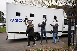 © Licensed to London News Pictures. 07/01/2019. Staines, UK. A prison van believed to be carrying DARREN SHANE PENCILLE arrives at Staines Magistrates court where he is charge with the murder of Lee Pomeroy. 51 year-old Lee Pomeroy was stabbed to death during an altercation near Clandon station in surrey while he was travelling to London by train with his 14 year old son on January 4. Chelsea Mitchell is also due to appear charged with assisting an offender. . Photo credit: Ben Cawthra/LNP