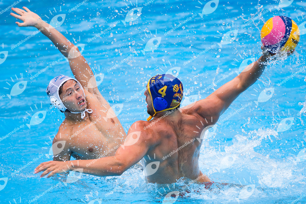 CUCKOVIC Uros MNE and ADACHI Seiya JPN<br /> JAPAN vs MONTENEGRO<br /> JPN vs MNE <br /> Waterpolo - Men's preliminary round Group D<br /> Day 08 31/07/2015<br /> XVI FINA World Championships Aquatics Swimming<br /> Kazan Tatarstan RUS July 24 - Aug. 9 2015 <br /> Photo Giorgio Perottino/Deepbluemedia/Insidefoto