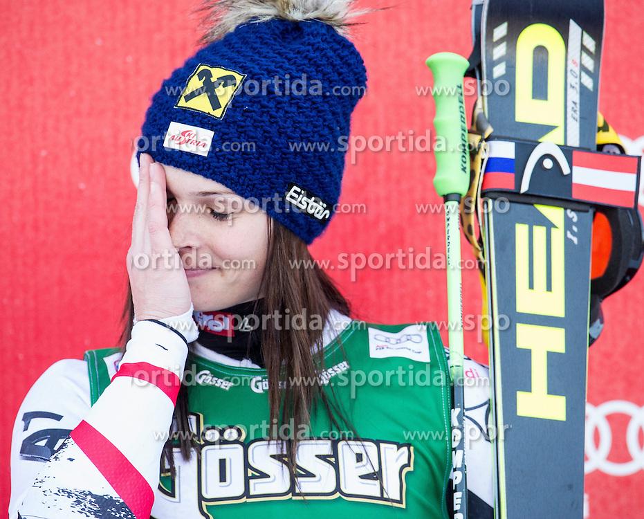 28.12.2013, Hochstein, Lienz, AUT, FIS Weltcup Ski Alpin, Lienz, Riesentorlauf, Damen, Siegerpraesentation, im Bild Gewinnerin Anna Fenninger (AUT) // Winner Anna Fenninger from Austria celebrates on podium after ladies giant slalom Lienz FIS Ski Alpine World Cup at Hochstein in Lienz, Austria on 2013/12/28, EXPA Pictures © 2013 PhotoCredit: EXPA/ Michael Gruber