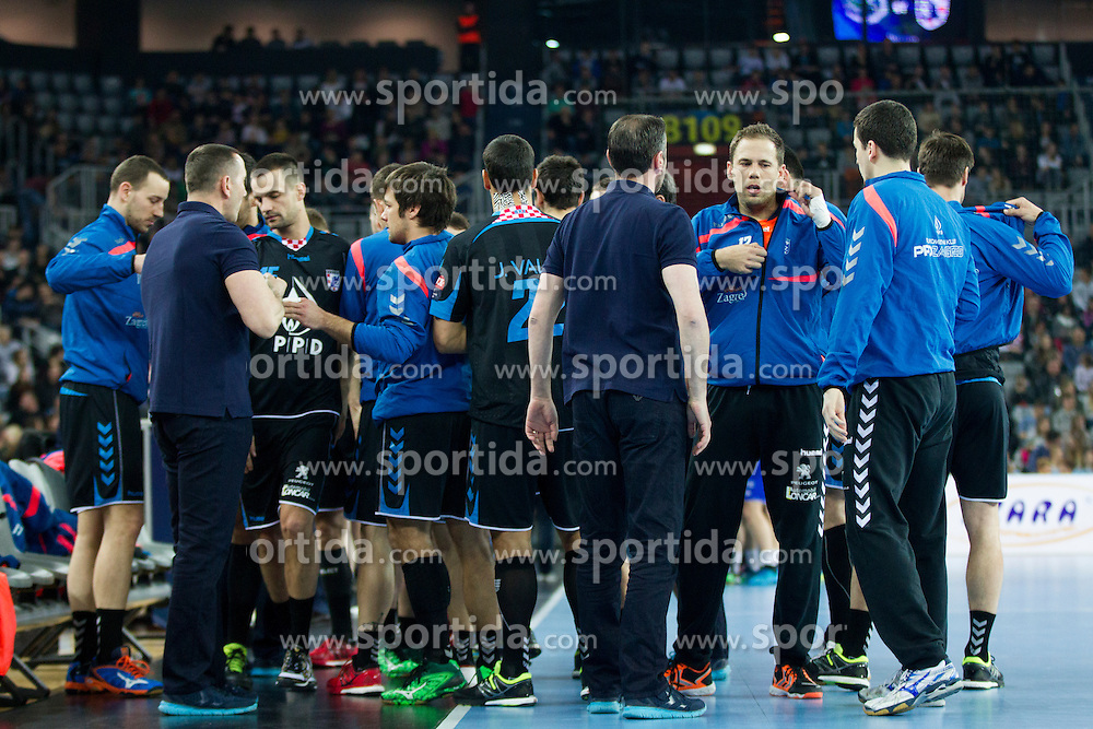 Team PPD Zagreb during handball match between PPD Zagreb (CRO) and RK Celje Pivovarna Lasko (SLO) in 13th Round of Group Phase of EHF Champions League 2015/16, on February 27, 2016 in Arena Zagreb, Zagreb, Croatia. Photo by Urban Urbanc / Sportida