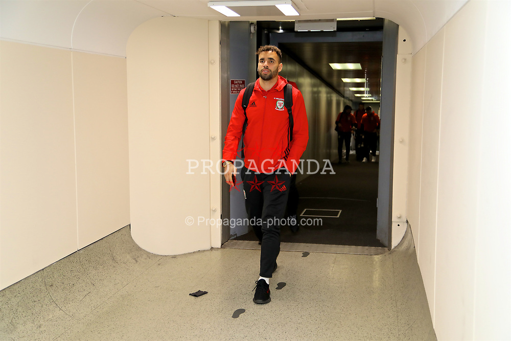 DUBLIN, REPUBLIC OF IRELAND - Thursday, March 23, 2017: Wales' Hal Robson-Kanu arrives at Dublin Airport ahead of the 2018 FIFA World Cup Qualifying Group D match against Republic of Ireland. (Pic by David Rawcliffe/Propaganda)