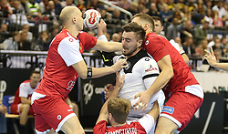 14.01.2019, Mercedes Benz Arena, Berlin, GER, IHF WM U18, Russland vs Deutschland, Herren, Gruppe A, im Bild russische Abwehr um Jannik Kohlbacher (Deutschland) // during the men's IHF World Championships groub A match between Russia and Germany at the Mercedes Benz Arena in Berlin, Germany on 2019/01/14. EXPA Pictures © 2019, PhotoCredit: EXPA/ Eibner-Pressefoto/ Andreas Gora<br /> <br /> *****ATTENTION - OUT of GER*****