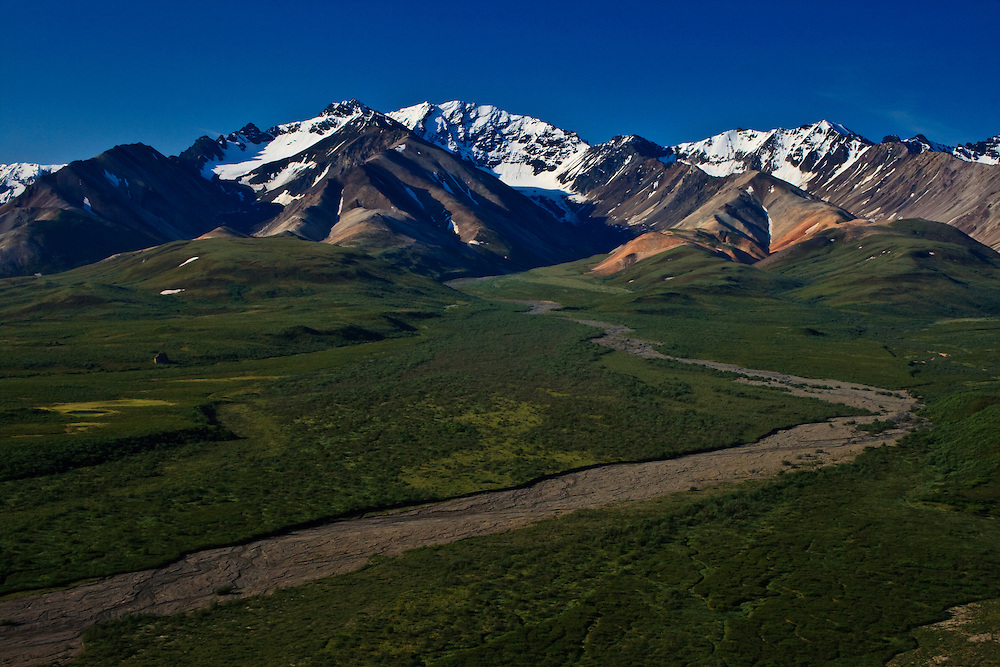 Polychrome Pass and the Polychrome Glaciers viewed from the Polychrome Overlook, Denali National Park, AK
