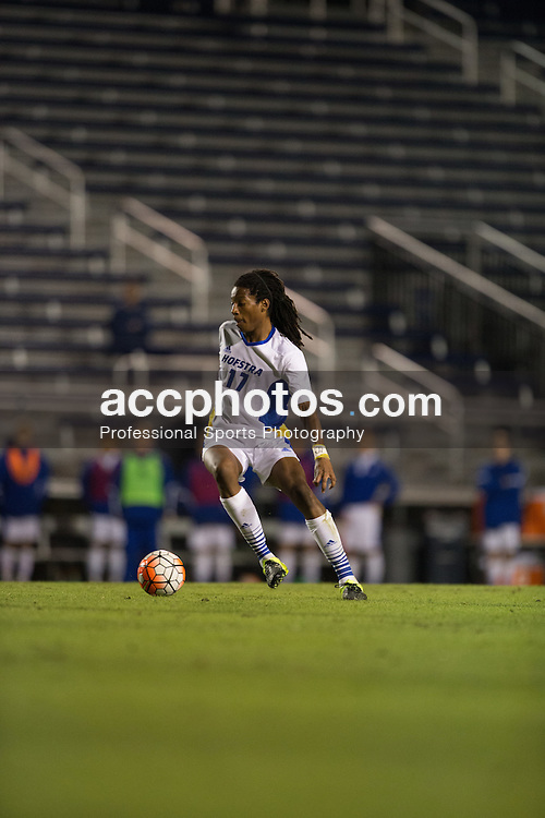 2015 October 05: Mani Walcott #17 of the Hofstra Pride during a 3-2 overtime loss to the Duke Blue Devils at Koskinen Stadium in Durham, NC.