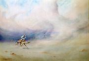 Tempest in the Desert', 1901. Watercolour. Robert Talbot-Kelly (1861-1934) English orientalist landscape painter.   Man in Arab dress riding camel through a sandstorm.