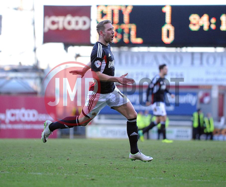 Bristol City's Scott Wagstaff celebrates his goal. - Photo mandatory by-line: Dougie Allward/JMP - Tel: Mobile: 07966 386802 11/01/2014 - SPORT - FOOTBALL - Coral Windows Stadium - Bradford - Bradford City v Bristol City - Sky Bet League One