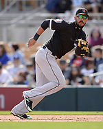 GLENDALE, ARIZONA - FEBRUARY 23:  Jose Abreu #79 of the Chicago White Sox fields against the Los Angeles Dodgers on February 23, 2018 at Camelback Ranch in Glendale Arizona.  (Photo by Ron Vesely)  Subject:   Jose Abreu
