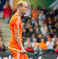 Billy Bakker after scoring the opening goal for The Netherlands. The Netherlands v Germany - Final Unibet EuroHockey Championships, Lee Valley Hockey & Tennis Centre, London, UK on 29 August 2015. Photo: Simon Parker