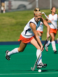 Virginia Cavaliers forward Kaitlyn Hiltz (7) in action against UMD.  The #1 ranked Maryland Terrapins defeated the #10 ranked Virginia Cavaliers 4-3 in overtime in NCAA Field Hockey at the Turf Field on the Grounds of the University of Virginia in Charlottesville, VA on October 4, 2008.