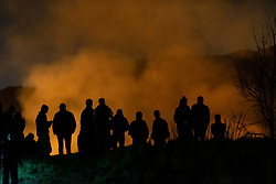 Scottish Fire and Rescue Services staff tackle a blaze on Edinburgh's Salisbury Crags