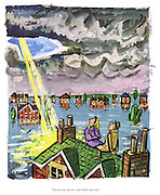 """The forecast did say 'and bright intervals'."" (a 1960s cartoon shows a couple stranded on their roof after a flood as a ray of sunshine appears through a gap in the clouds)"