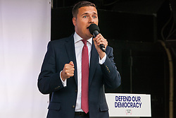 London, UK. 4 September, 2019. Wes Streeting, Labour MP for Ilford North, addresses Remain supporters at a Defend Our Democracy rally in Parliament Square shortly after MPs passed the Brexit delay bill in the House of Commons.
