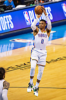 OKLAHOMA CITY, OK - APRIL 21: Russell Westbrook #0 of the Oklahoma City Thunder shoots a jump shot during a game against the Portland Trail Blazers during Round One Game Three of the 2019 NBA Playoffs on April 21, 2019 at Chesapeake Energy Arena in Oklahoma City, Oklahoma  NOTE TO USER: User expressly acknowledges and agrees that, by downloading and or using this photograph, User is consenting to the terms and conditions of the Getty Images License Agreement.  The Trail Blazers defeated the Thunder 111-98.  (Photo by Wesley Hitt/Getty Images) *** Local Caption *** Russell Westbrook