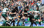 Twickenham, GREAT BRITAIN, Ospreys'  No. 8 Filo TIATIA, goes for the gap between left Bem Kay and Jordan CRANE, during the EDF Energy Cup Final rugby match,  Leicester Tiger vs Ospreys, at Twickenham Stadium, Surrey on Sat 12.04.2008 [Photo, Peter Spurrier/Intersport-images]