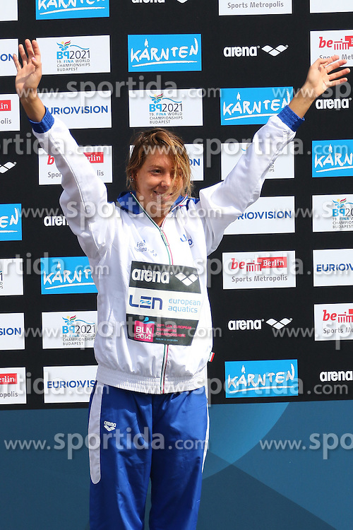 13.08.2014, Regattastrecke Gr&uuml;nau, Berlin, GER, SPO, LEN, Schwimm EM 2014, Freiwasser Wettbewerbe, 10 KM Frauen, im Bild Aurora Ponsele (Italien) jubelt ueber Bronze // during the women's 10 km Open water swimming of the LEN 2014 European Swimming Championships at the Regattastrecke Gr&uuml;nau in Berlin, Germany on 2014/08/13. EXPA Pictures &copy; 2014, PhotoCredit: EXPA/ Eibner-Pressefoto/ Hundt<br /> <br /> *****ATTENTION - OUT of GER*****
