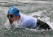 Commonwealth Games gold medallist Moss Burmester takes part in a 'mini ocean swim' during the media launch for the Sovereign NZ National Ocean Swim Series held aboard the Ocean Eagle at the Viaduct in Auckland, New Zealand on Tuesday 3 October, 2006. Photo: Tim Hales/PHOTOSPORT