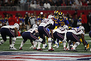 A group of New England Patriots players in action during the NFL Super Bowl 53 football game against the Los Angeles Rams on Sunday, Feb. 3, 2019, in Atlanta. The Patriots defeated the Rams 13-3. (©Paul Anthony Spinelli)