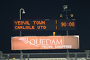 It's 0-0 at full time in the The FA Cup Third Round Replay match between Yeovil Town and Carlisle United at Huish Park, Yeovil, England on 19 January 2016. Photo by Graham Hunt.